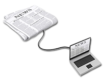 Clipart Of Paper Newspaper hooked to Laptop by Network Cable